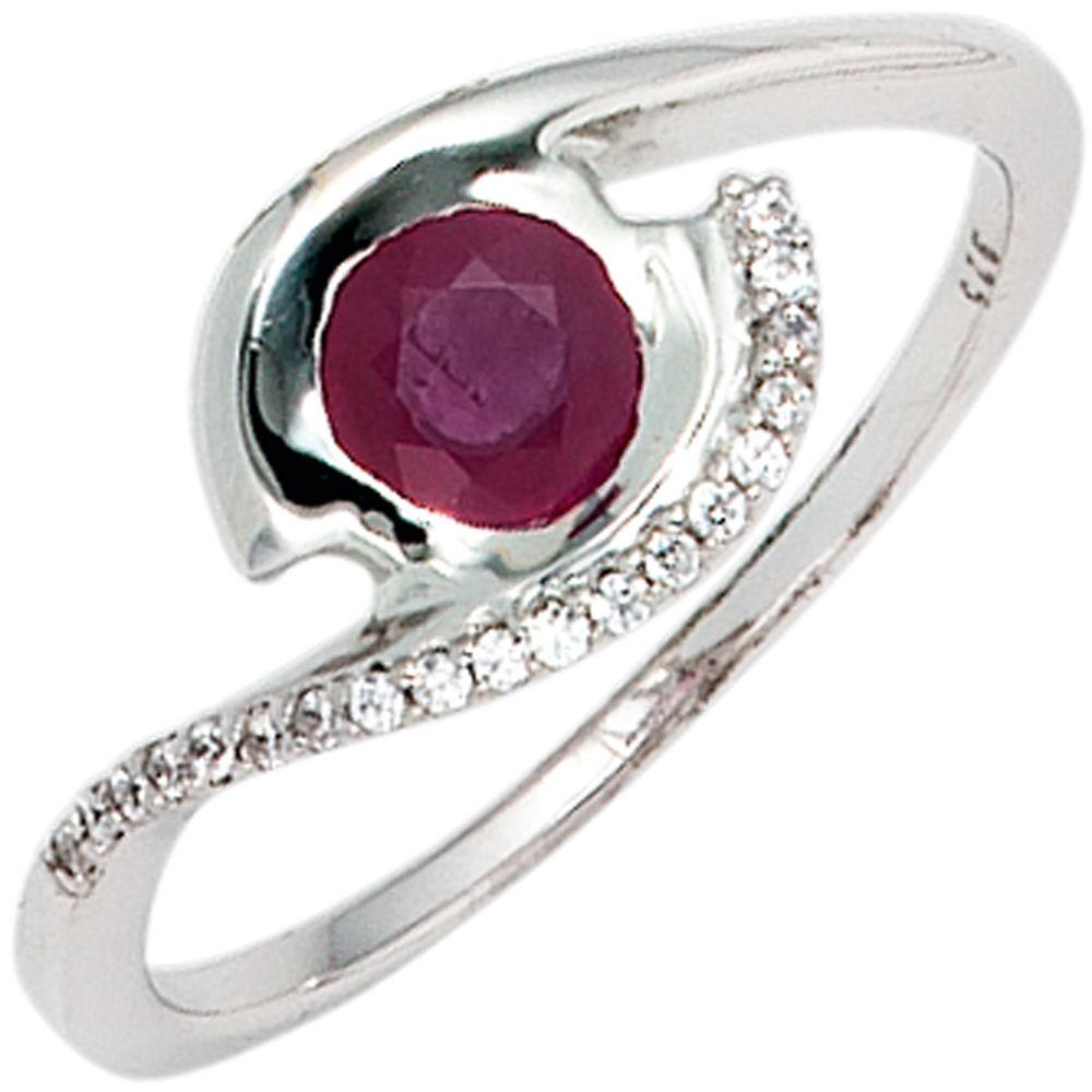 ring 333 wei gold mit rubin und zirkonia wei marinas schmuckwelt. Black Bedroom Furniture Sets. Home Design Ideas