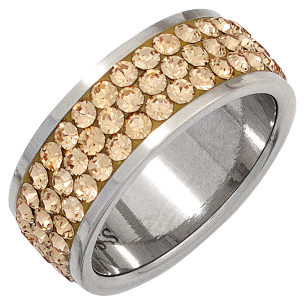 Champagne Diamond Enement Rings | Ring Swarovski Elements Champagner Marinas Schmuckwelt