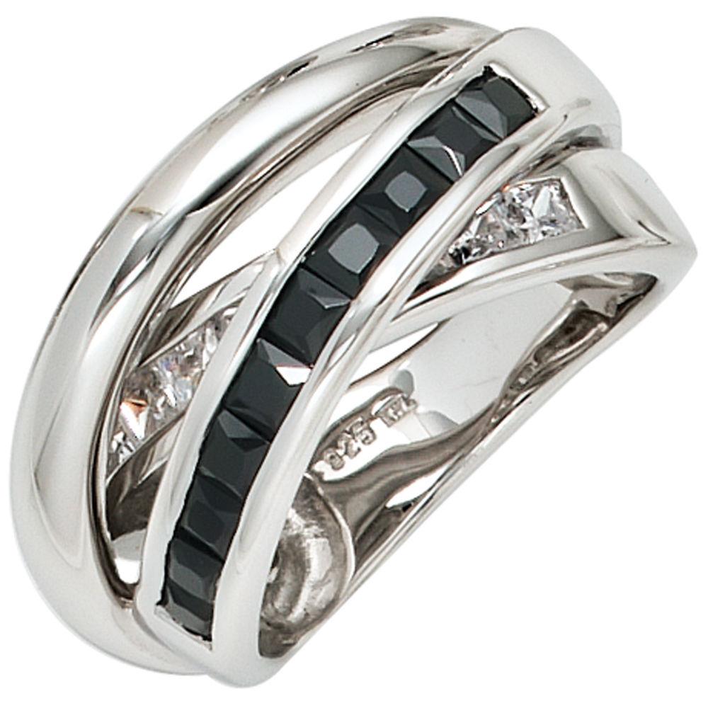 ring 925 silber mit zirkonia in schwarz und wei marinas. Black Bedroom Furniture Sets. Home Design Ideas