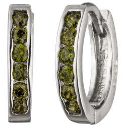 Creolen 925 Silber mit 12 Zirkonia grün