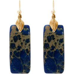 Ohrhaken 925 Silber/vergoldet mit Lapis Lazuli Rechteck