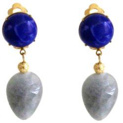 Ohrclips vergoldet mit Lapis Lazuli und Aquamarin-Tropfen