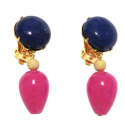 Ohrclips vergoldet mit Lapis Lazuli und Jade-Tropfen rosa