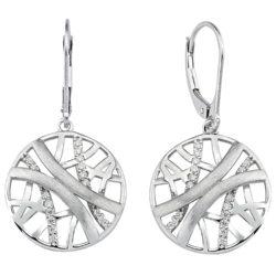 Boutons abstrakt Netzform 925 Silber mit Zirkonia weiß