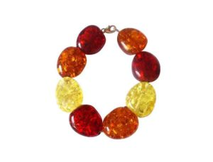Armband/Juwelierdraht vergoldet mit 8 Bernsteinen multicolor