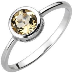 Ring rund 925 Silber mit Citrin