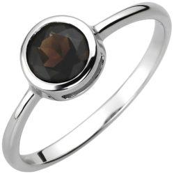 Ring rund 925 Silber mit Rauchquarz