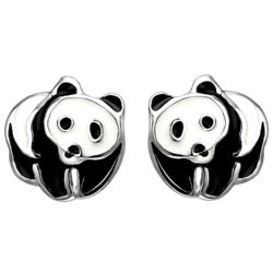 """Kinder-Ohrstecker """"Panda"""" 925 Silber Lack schwarz/weiß"""