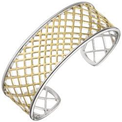 Armreif offen 925 Silber/teilvergoldet Netz-Optik