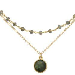 Collier-Doppel 925 Silber/vergoldet mit Labradoriten