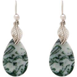Ohrhaken 925 Silber mit Blattmotiv und Achat-Tropfen grün/weiß