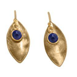 Ohrhaken 925 Silber/vergoldet mit Blue Saphir Navette