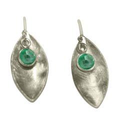 Ohrhaken 925 Silber mit Smaragd Navette