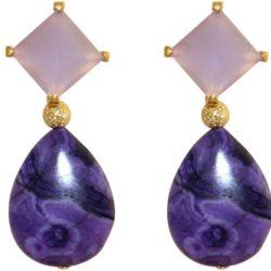 Ohrstecker 925 Silber/vergoldet mit Chalcedon lila und Achat violett