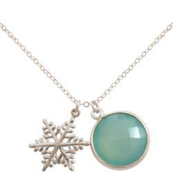Collier mit Schneeflocke und Smaragd 925 Silber/vergoldet