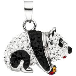 """Kinder Anhänger """"Panda"""" 925 Silber mit Kristallen bunt und Lack"""