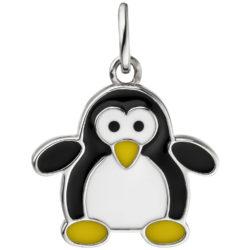 "Kinder Anhänger ""Pinguin"" 925 Silber mit Emaille bunt"