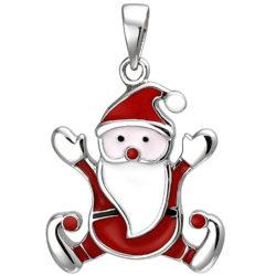 """Kinder Anhänger """"Weihnachtsmann"""" 925 Silber mit Lack bunt"""