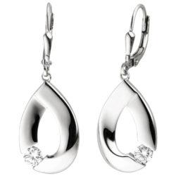 Boutons Tropfenform 925 Silber mit Zirkonia weiß