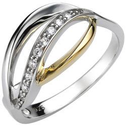 """Ring """"Tropfen"""" geschwungen 925 Silber/teilvergoldet mit 9 Zirkonia weiß"""