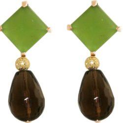 Ohrstecker 925 Silber/vergoldet mit Chalcedon grün und Rauchquarz-Tropfen