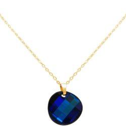 Collier 925 Silber/vergoldet mit Anhänger SWAROVSKI ELEMENTS Bermuda Blau