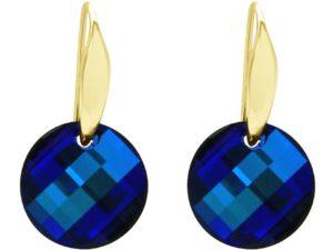 Ohrhaken 925 Silber/vergoldet mit SWAROVSKI ELEMENTS Bermuda Blau