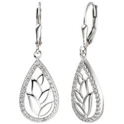 Boutons Tropfen mit Tulpen-Motiv 925 Silber und 64 Zirkonia weiß