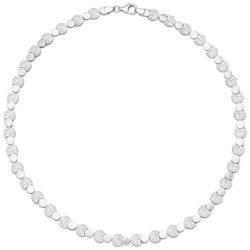 Collier mit Kreis-Plättchen 925 Silber/teilgehämmert