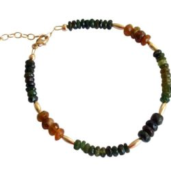 Armband vergoldet mit Turmalinen grün, blau und orange