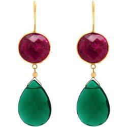 Ohrhaken 925 Silber/vergoldet mit Rubinen und Turmalinen grün