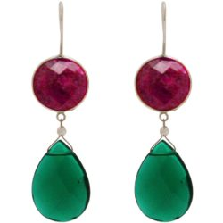 Ohrhaken 925 Silber mit Rubinen und Turmalinen grün