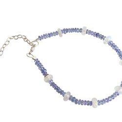 Armband 925 Silber mit Tansaniten und Mondsteinen weiß