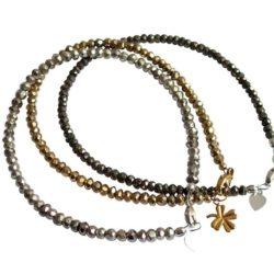 Armband-Set 3-teilig mit Pyrit in schwarz, silber-, goldfarben