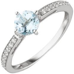 Ring 925 Silber mit Blautopas und 16 Zirkonia weiß