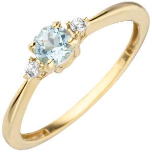 Ring 333 Gelbgold mit Blautopas und 2 Zirkonia weiß