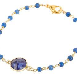 Armband 925 Silber/vergoldet mit Blue Saphiren