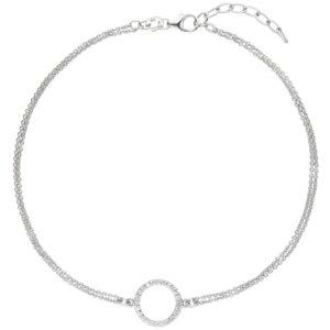 Fußkettchen/Rundankerkette 925 Silber mit 24 Zirkonia weiß