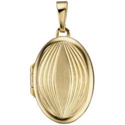 Medaillon 585 Gelbgold/teilmattiert Abstrakt-Dekor