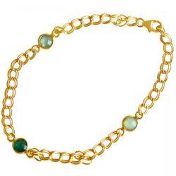 Gliederarmband vergoldet mit einem Smaragd und zwei Chalcedonen