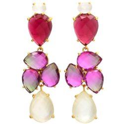 Ohrstecker 925 Silber mit Turmalinen in pink und rot sowie Mondsteinen
