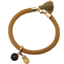 "Armband Nylon mit Rauchquarz und ""Eule"" vergoldet"