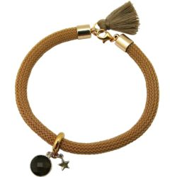 """Armband Nylon mit Rauchquarz und """"Stern"""" 925 Silber vergoldet"""