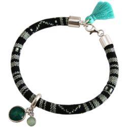 Boho-Armband 925 Silber mit Smaragd und Chalcedon