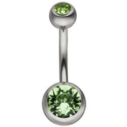 Bauchnabel-Piercing Edelstahl mit Kristallsteinen grün