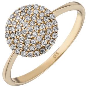 Ring rund 333 Gelbgold mit 60 weißen Zirkonia
