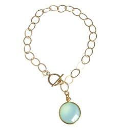 Glieder-Armband 925 Silber/vergoldet mit Chalcedon meeresgrün