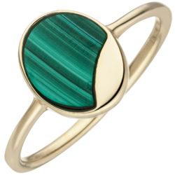 Ring oval 925 Silber/vergoldet mit Malachit-Einlage
