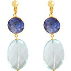 Ohrclips 925 Silber/vergoldet mit Blue Saphir und Aquamarin