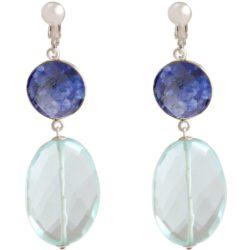 Ohrclips 925 Silber mit Blue Saphiren und Aquamarinen